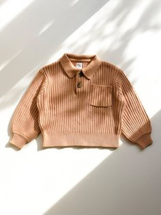Organic, eco dyed, ribbed knit pullover for children. Eco clothing, sustainable clothing, quality, comfortable loungewear. Eco Clothing, Sustainable Clothing, Cute Baby Clothes, Baby Knitting, Rib Knit, Lounge Wear, Kids Outfits, Pullover, Orange