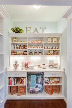 Coastal Kitchen pantry  Paint color: SW 6477 – Tidewater  Trim color: SW7005 – Pure White