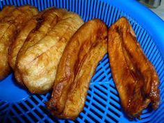 """Fried bananas, or as they are called on Guam, Madoya (the """"y"""" is pronounced like a """"j""""), are one of the delicacies of Guam. It is a batter. Guam Recipes, Wine Recipes, Asian Recipes, Gourmet Recipes, Dessert Recipes, Healthy Recipes, Desserts, Breakfast Restaurants, Breakfast Recipes"""