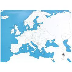 Lámina de control con el mapa de Europa con los nombres de los países en inglés. Este material de lametodología Montessori,es perfecto para que los niños aprendan los nombres de los diferentes países del continente europeo,así como la forma que tienen y la ubicación donde se encuentran. Ideal para usar junto con el puzle de madera del continente de Europa, que se vende por separado. Edad recomendada: a partir de 3 años. Medidas:  Largo: 53,5 cm. Ancho: 41 cm.