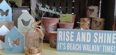 Beach walking sign, votive holders and vintage, shabby chic display in our shop at Lorient Gift Dun Laoghaire