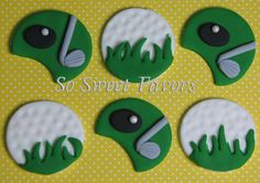 Fondant edible cupcake toppers - Golf ball and golf court. $11.95, via Etsy.