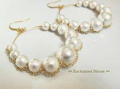 Japanese Cotton Pearl Hoop Earrings  #etsy #cottonpearl #hoopearrings #pearl