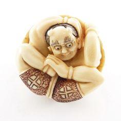 Mammoth Ivory Netsuke - Fortune God In The Shell