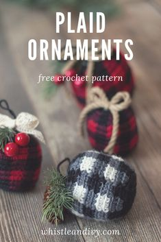 Crochet Plaid Ornament Bauble - Free Crochet Pattern : These classic crochet plaid ornaments are easy to make and add the perfect rustic touch to your Christmas tree. Crochet a whole set! Crochet Christmas Decorations, Christmas Craft Projects, Crochet Ornaments, Christmas Crochet Patterns, Holiday Crochet, Crochet Snowflakes, Christmas Knitting, Crochet Home, Xmas Ornaments