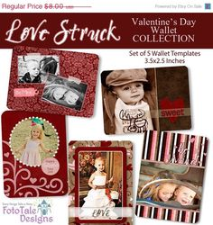 Holiday SALE Love Struck Valentine's Day Custom Wallet Templates- Set of 5 custom photo templates for photographers. $4.00, via Etsy.