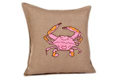 Crab Applique 20x20 Burlap Pillow, Pink on OneKingsLane.com  Super cute!