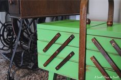 A Swell Place to Dwell: Vintage Sewing Kit Makeover using Annie Sloan Chalk Paint in Antibes Green.