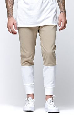 PacSun presents the Modern AmusementPieced Canvas Jogger Pants for men. These two tone men's jogger pants comes with a comfortable feel, thick elastic cuffs, and a Modern Amusement logo on back.   Two tone joggerpants Modern Amusement above welted back pocket Slant front pocket Elastic, drawstring waist Machine washable 98% cotton, 2% spandex Imported