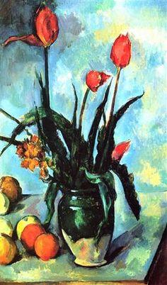 Tulips in a Vase - Paul Cezanne