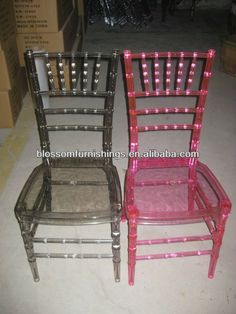 "Wow, Chiavari Ice Chairs in kind of a chocolate color and raspberry/hot pink color. Love it!.  Says ""Get latest price"". 200 piece min order. Linqu Blossom Wood Products Factory, Shandong China. alibaba.com"