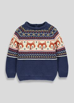 cec91b02f83 Kids Fair Isle Fox Knitted Jumper (3mths-6yrs)