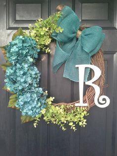 Front door wreath hydrangea wreath monogram by AutumnWrenDesigns