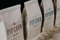 Hand-Stamped Popcorn Bags - The Pipcorn Packaging is Inspired by Vintage 1850s Signage