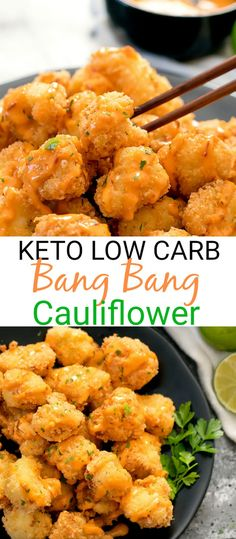 Crispy cauliflower bites drizzled in a low … Keto Low Carb Bang Bang Cauliflower. Crispy cauliflower bites drizzled in a low carb bang bang sauce. Cena Keto, Comida Keto, Cooking Recipes, Healthy Recipes, Sauce Recipes, Healthy Snacks, Vegetarian Recipes, Steak Recipes, Low Carb