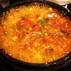 Korean tofu soup with mushrooms