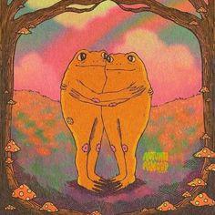 Psychedelic Art, Pretty Art, Cute Art, Arte Peculiar, Arte Indie, Hippie Wallpaper, Frog Art, Cute Frogs, Hippie Art