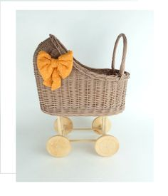 Wiklibox wicker & alder wood doll stroller in BROWN colour with soft muslin bedding. Variants available. Baby walker by WIKLIBOX on Etsy Strollers For Dolls, Dolls Prams, Wicker, Little Girls, Bedding, Colour, Brown, Wood, Handmade Gifts