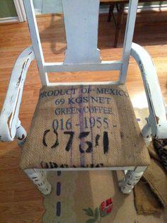 Burlap Coffee Bag Rustic Cafe Desk Shelves Kitchen Design