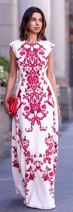 Fine Print Maxi Dress Cocktail Style women fashion outfit clothing stylish apparel @roressclothes closet ideas