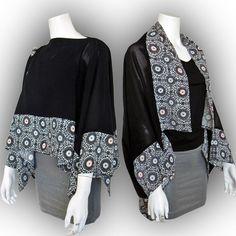 Japanese Kimono Recycled- 2-Way Origami Blouse Shrug - Two-Tone/ Mum & Family Crest by Kazuenxx on Etsy