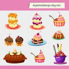 Stylish Sweet Cake Clipart. Food Illustration. Cake Illustration. Colorful Cute Sweet Cake Clipart 288