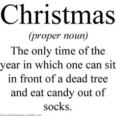 Christmas (proper noun) The only time of the year in which one can sit in front of a dead tree and eat candy out of socks.