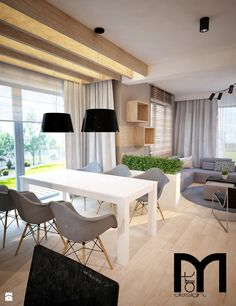 Projekt domu jednorodzinnego okolice Ostrołęki - Średnia otwarta jadalnia w salonie, styl nowoczesny - zdjęcie od Mart-Design Architektura Wnętrz