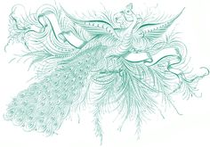 """Free Antique Clip Art - Penmanship Peacock - The Graphics Fairy  """"proud art shall conquer"""" in the four word banner spaces"""