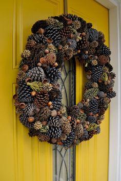 Fall Pinecone Wreath. Love the Magnolia pods!