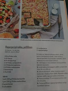 Raparperipiirakka Bread, Food, Brot, Essen, Baking, Meals, Breads, Buns, Yemek