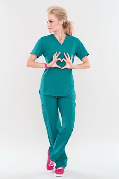 NEW! Our ROCK GODDESS is now in TEAL! Get the look! #smitten #scrubs #medical #fashion #uniforms #nurse #nursing #school #student #dental #hygiene #vet #tech #assistant #fall #style #teal #green #stretch #comfort #cute #rock #rocknroll #pink #heart #wings #new #hottie #goddess #amp #knockout