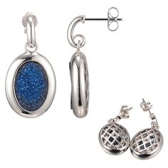 Shimmery Deep Blue Drusy Post Earrings – ELLE Time & Jewelry
