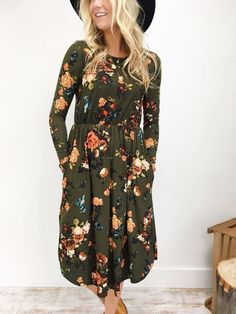 Green Olive Full Sleeve Knee Length Floral Flower Dress for Teen Casual Outfit Boho Bodycon Dress