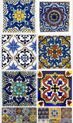 Talavera tiles for casita bathroom. Pop of color Tile Patterns, Pattern Art, Textures Patterns, Pattern Design, Tile Art, Mosaic Tiles, Tiling, Mexican Style Kitchens, Patchwork Tiles