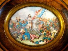 Antique MINIATURE PORTRAIT OF Napoleon and the Battle of Waterloo 19th Century