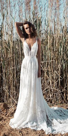 berta spring 2018 bridal spaghetti strap deep plunging v neck full  embellishment sexy romantic a line wedding dress open back chapel train (1)  bv — Berta ... 0eaef1b9a443