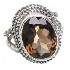 925 SOLID STERLING FINE SILVER Smoky Quartz RING