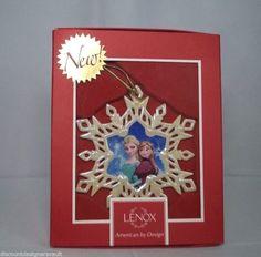 NIB Lenox Disney Showcase Collection FROZEN Elsa Anna Snowflake Ornament 852197 #Frozen #Disney #Lenox #Christmas #Ornament #Anna #Elsa