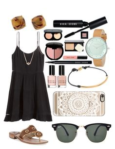 """""""Sorry I haven't posted in a few days, school is already so much"""" by emmacaseyyyy ❤ liked on Polyvore featuring H&M, Kate Spade, Jack Rogers, Bobbi Brown Cosmetics, Skagen, Kendra Scott, Dogeared, Casetify and Ray-Ban"""