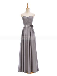 Silver Strapless Chiffon Bridesmaid Dress with Pleated Bodice and Floral Sash