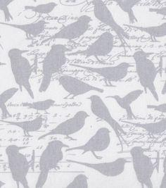 Keepsake Calico Fabric-Cream Birds Grey
