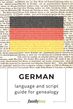 If you can arm yourself with a basic vocabulary of a few dozen words, you'll be able to read many of the genealogical records that are written in German. Genealogy Research, German Language, You Lied, Vocabulary, Script, Arm, Writing, How To Plan, Learning