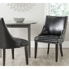 Safavieh Afton Black Bi-Cast Leather Side Chair (Set of 2)