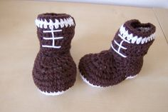 Baby boy football crochet button boots
