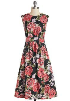 Too Much Fun Dress in Roses - Long. Theres no such thing as overloading on fun, but if it were possible, why not go all-out in this adorable sleeveless dress? #gold #prom #modcloth