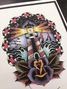 Amsterdam tattoo old school lighthouse www.eetattoo.com