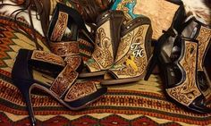 Rheanne Keller is taking the western fashion industry by storm creating custom leather tooled heels and wedges unlike anything you've every seen. Leather High Heels, High Heel Boots, Leather Sandals, Heeled Boots, Shoe Boots, Leather Jewelry, Cute Shoes, Me Too Shoes, Western Shoes
