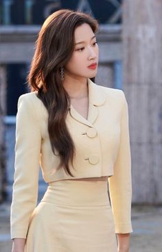 Yellow Cropped Coat And Straight Skirt Set | Yeo Ha Jin - Find Me In Your Memories | K-Fashion at Fashionchingu Korean Outfits, Mode Outfits, Girl Outfits, Fashion Outfits, Cute Skirt Outfits, Classy Outfits, Kpop Fashion, Korean Fashion, Jin