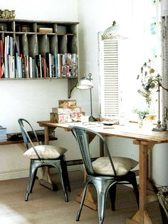 Check Out 32 Inspiring Boho Chic Home Office Design Ideas. A boho chic home office is a peculiar space, it's full of colors, patterns, fantasy and joy. Industrial Home Offices, Rustic Home Offices, Industrial House, Rustic Industrial, Rustic Office, Industrial Workspace, Rustic Wood, Industrial Design, Home Office Space
